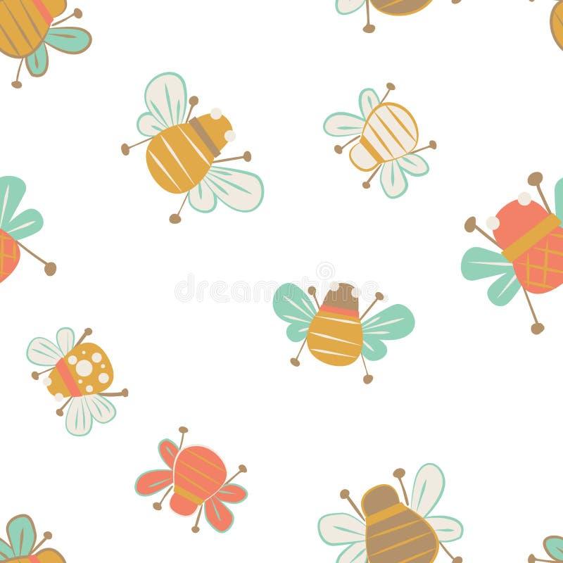 Fondo inconsútil del modelo de las abejas lindas libre illustration