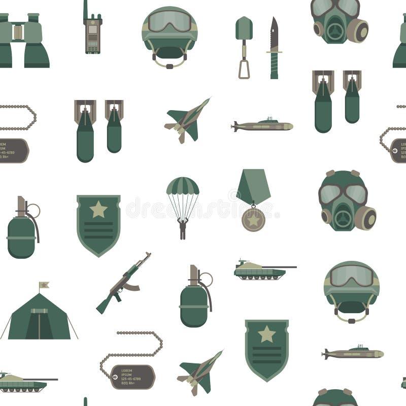 Fondo inconsútil del modelo de las armas del ejército del color de la historieta Vector ilustración del vector