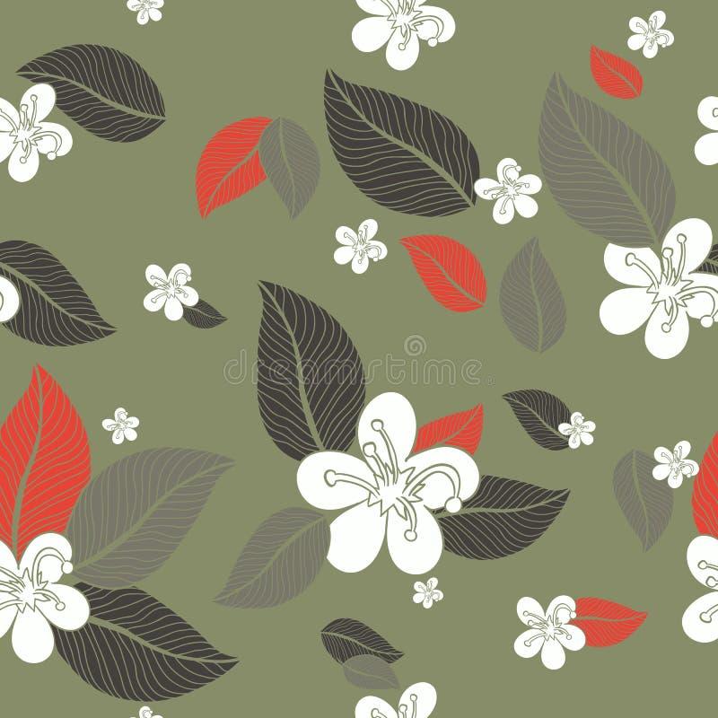 Fondo inconsútil del modelo de las flores de las hojas Ilustración del vector libre illustration