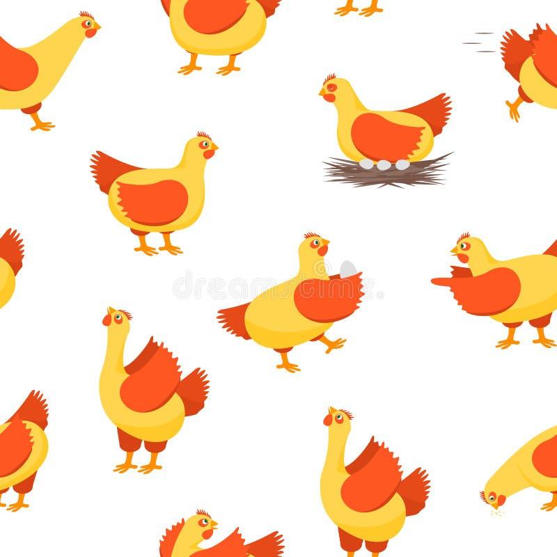 Fondo inconsútil del modelo de las gallinas felices de los personajes de dibujos animados Vector ilustración del vector