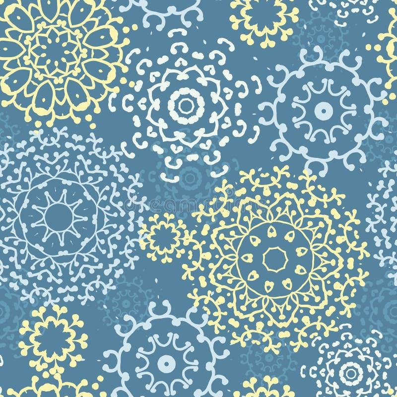 Fondo inconsútil del modelo de las mandalas abstractas grises amarillas stock de ilustración