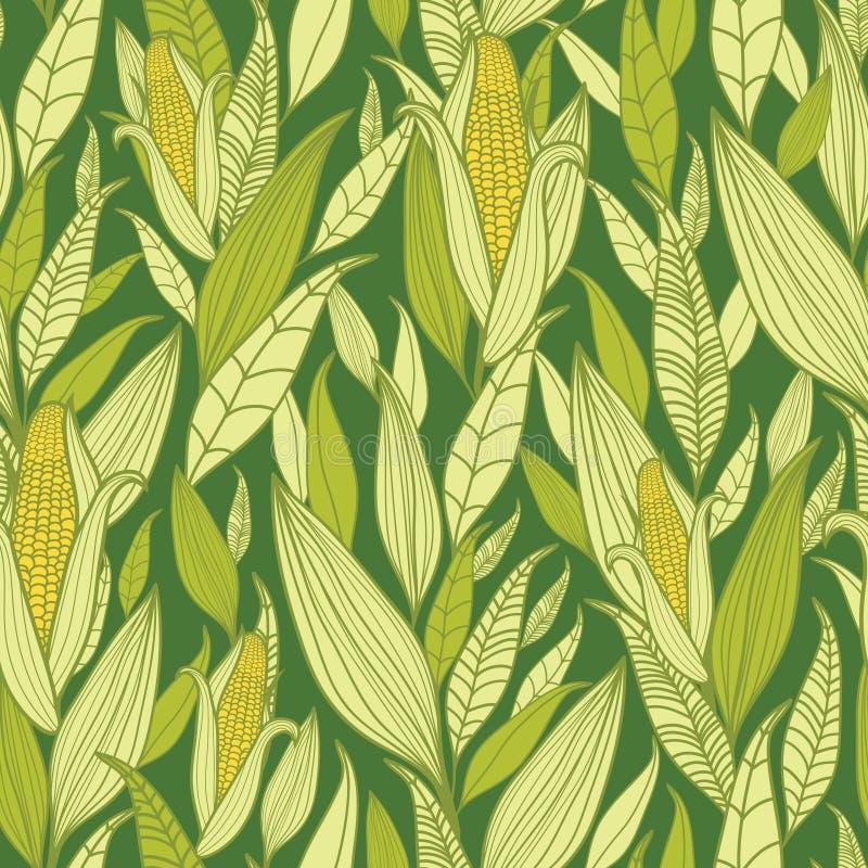 Fondo inconsútil del modelo de las plantas de maíz ilustración del vector