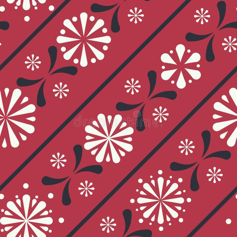 Fondo inconsútil del modelo de las rayas florales diagonales del folclore del vector libre illustration
