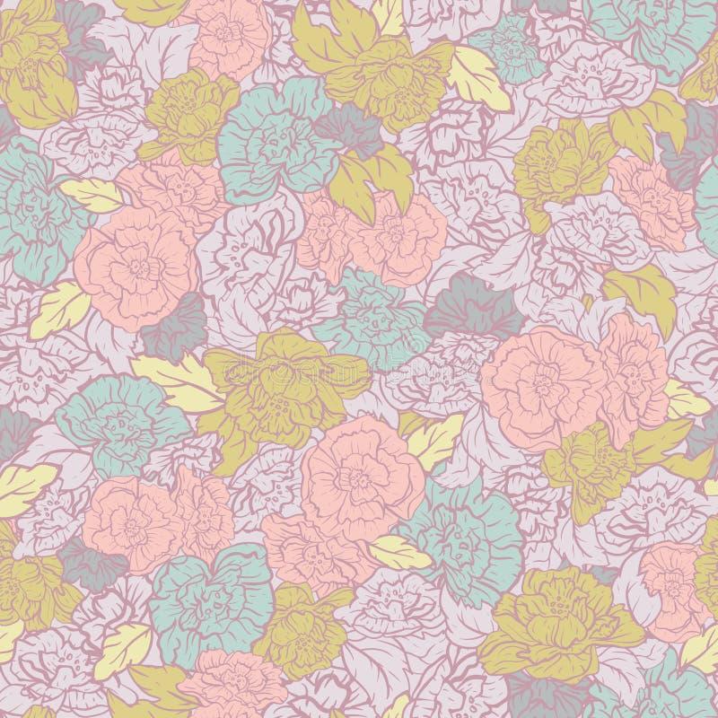 Fondo inconsútil del modelo de las rosas retras del Rockabilly del vector ilustración del vector