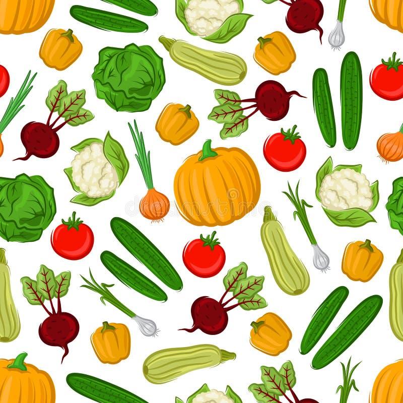 Fondo inconsútil del modelo de las verduras frescas de la granja stock de ilustración