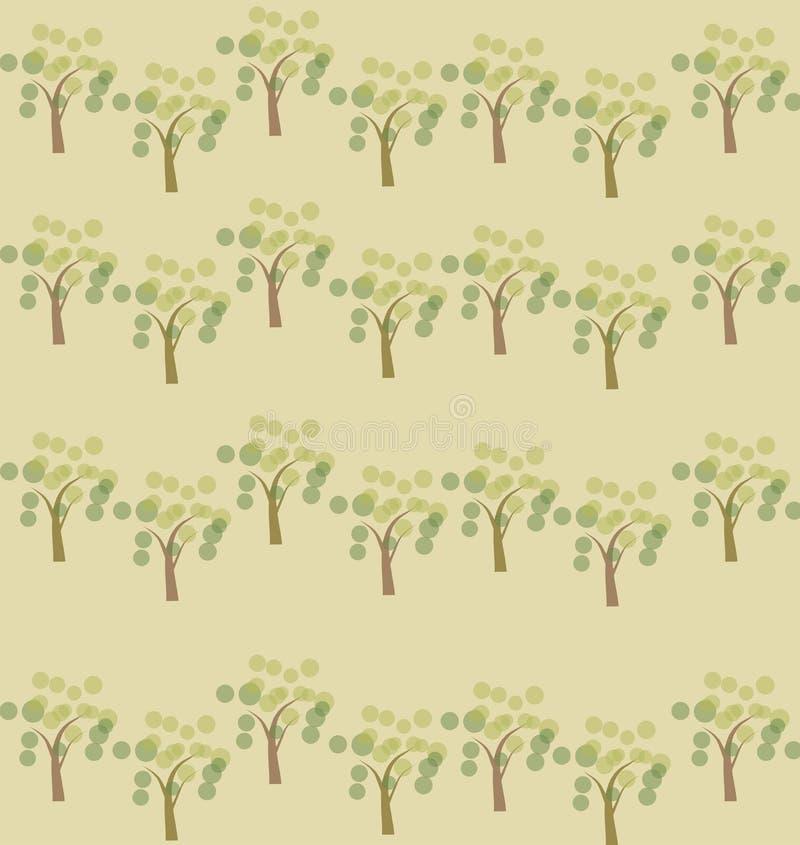 Fondo inconsútil del modelo de los árboles de la primavera stock de ilustración