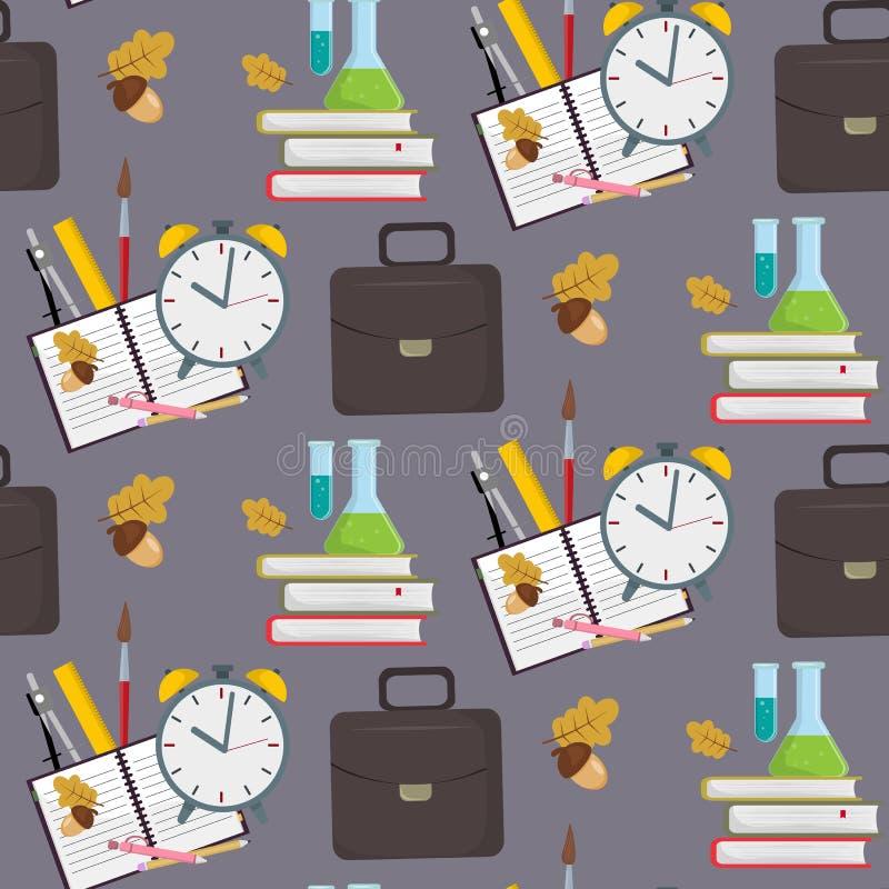 Fondo inconsútil del modelo de los accesorios educativos de la escuela o de los materiales de oficina stock de ilustración