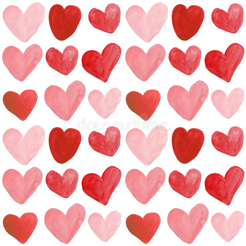 Fondo inconsútil del modelo de los corazones exhaustos de la mano de la acuarela stock de ilustración