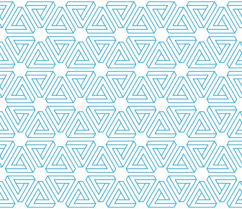 fondo inconsútil del modelo de los triángulos imposibles de la ilusión 3d ilustración del vector
