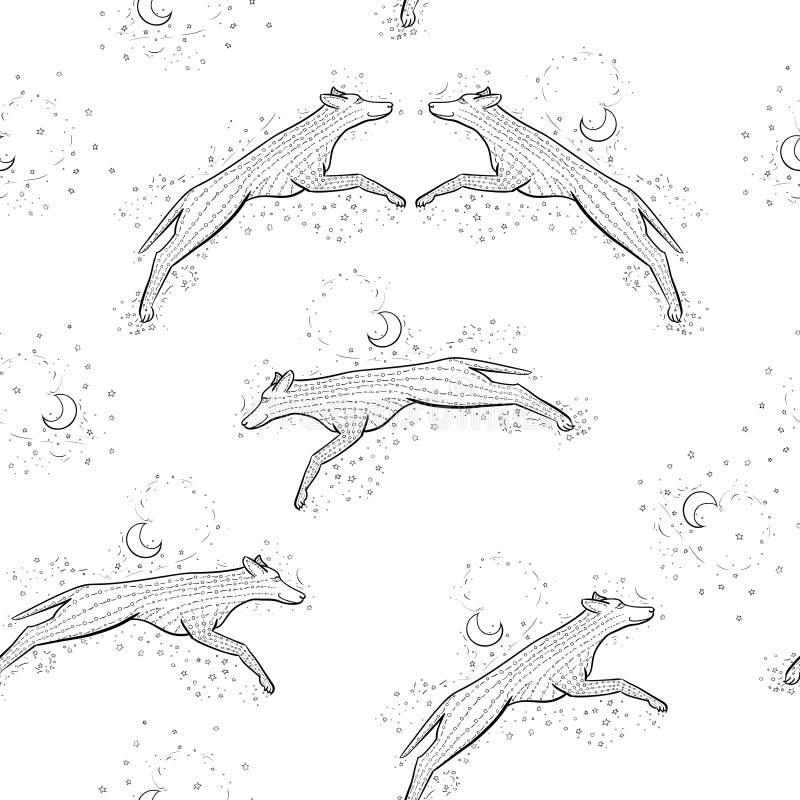 Fondo inconsútil del modelo de Zentangle con el woolf Ejemplo del enredo del zen del coyote del vector Perro del Año Nuevo 2018 libre illustration