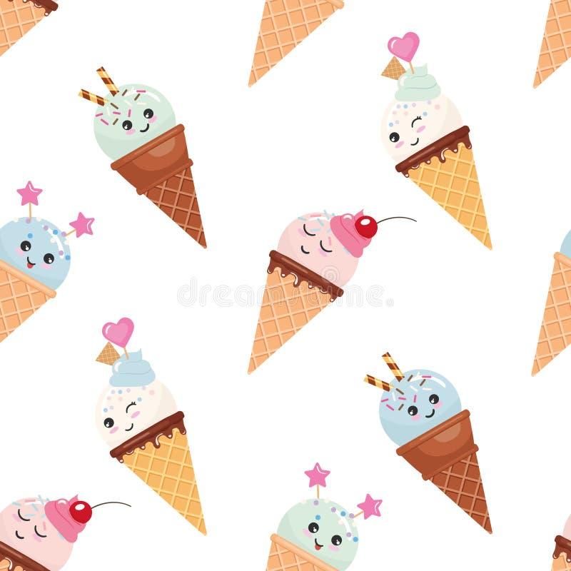 Fondo inconsútil del modelo del cono de helado de Kawaii Árbol congelado solo Aislado en blanco ilustración del vector