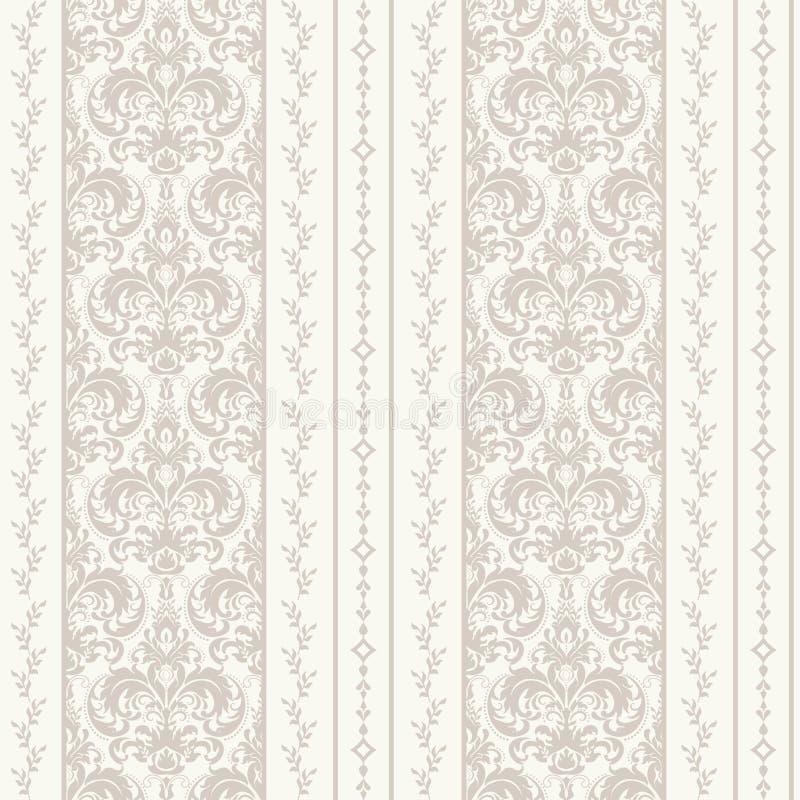 Fondo inconsútil del modelo del damasco Ornamento pasado de moda de lujo clásico del damasco, textura inconsútil del victorian re libre illustration