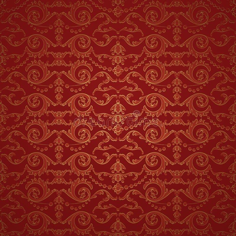 Fondo inconsútil del modelo del damasco rojo hermoso stock de ilustración