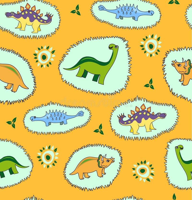 Fondo inconsútil del modelo del dinosaurio stock de ilustración