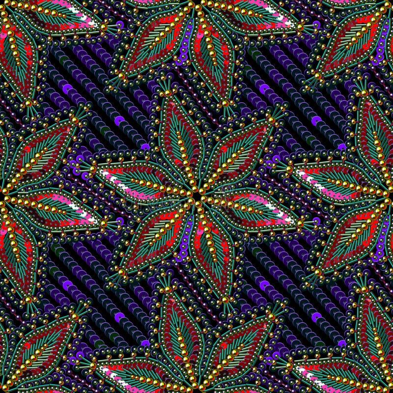 Fondo inconsútil del modelo del vector de las gotas multicoloras de las lentejuelas ilustración del vector