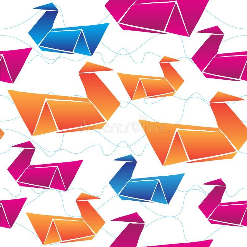 Fondo inconsútil del modelo del vector de los cisnes de la papiroflexia stock de ilustración