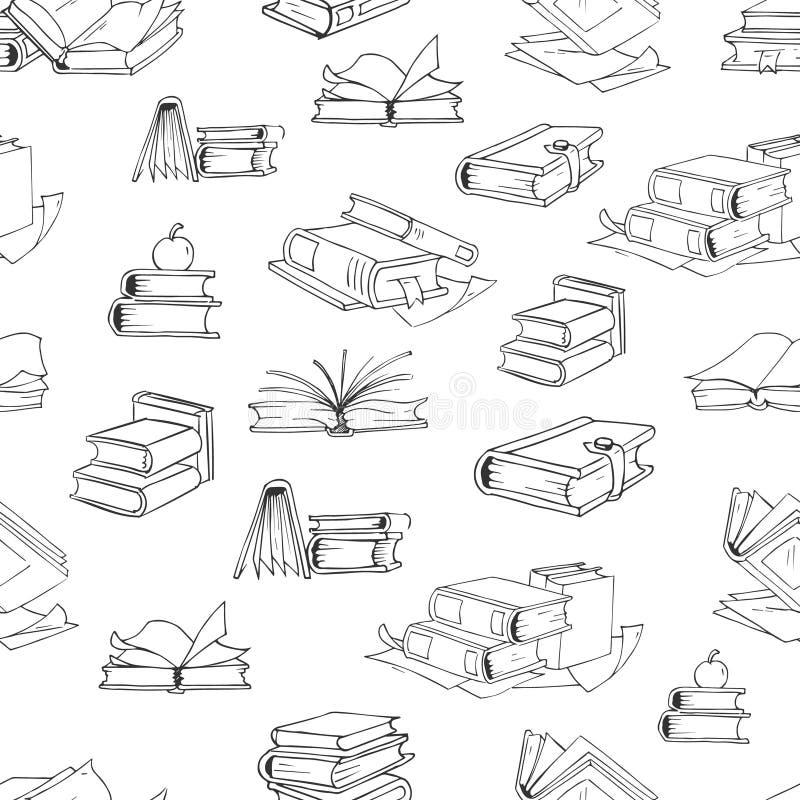Fondo inconsútil del modelo del vector del libro de la biblioteca del garabato stock de ilustración