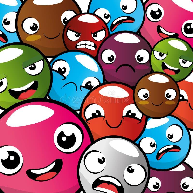 Fondo inconsútil del modelo del emoticon de Emoji ilustración del vector