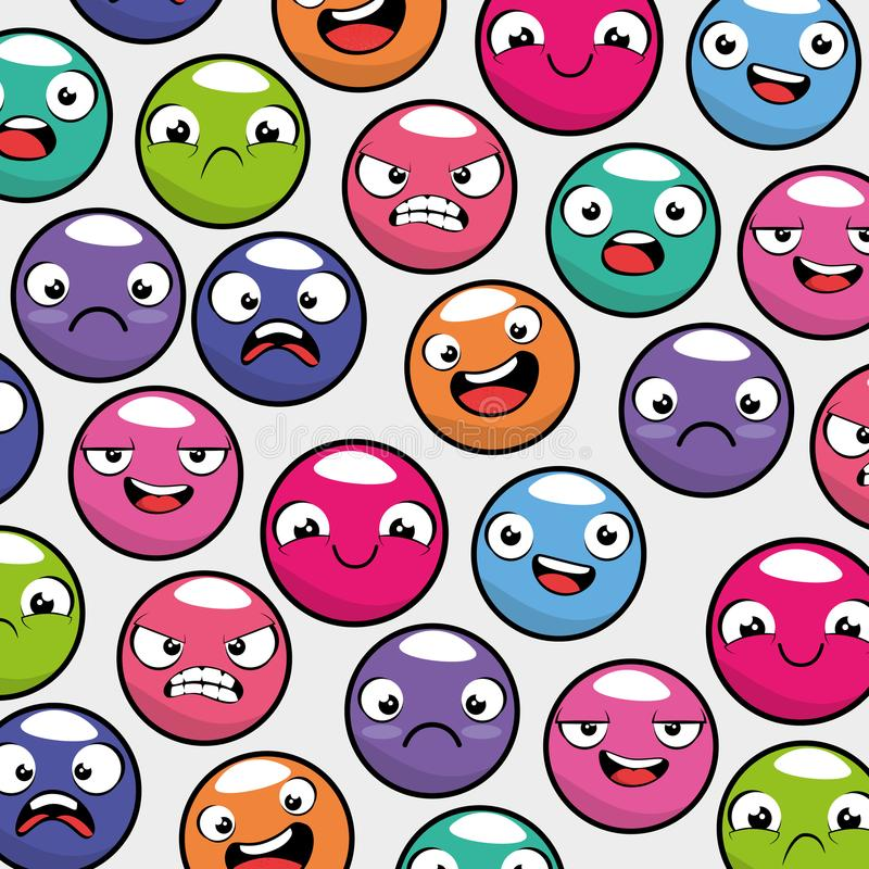 Fondo inconsútil del modelo del emoticon de Emoji libre illustration