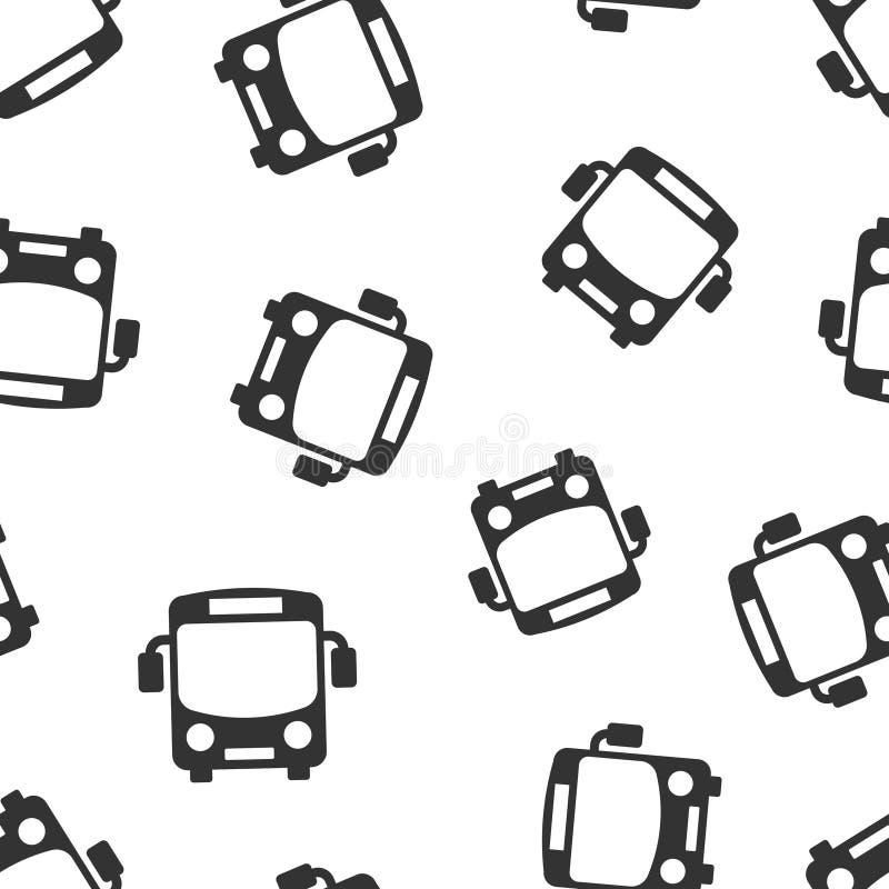 Fondo inconsútil del modelo del icono del autobús escolar Ejemplo del vector del Autobus en el fondo aislado blanco Negocio del t ilustración del vector