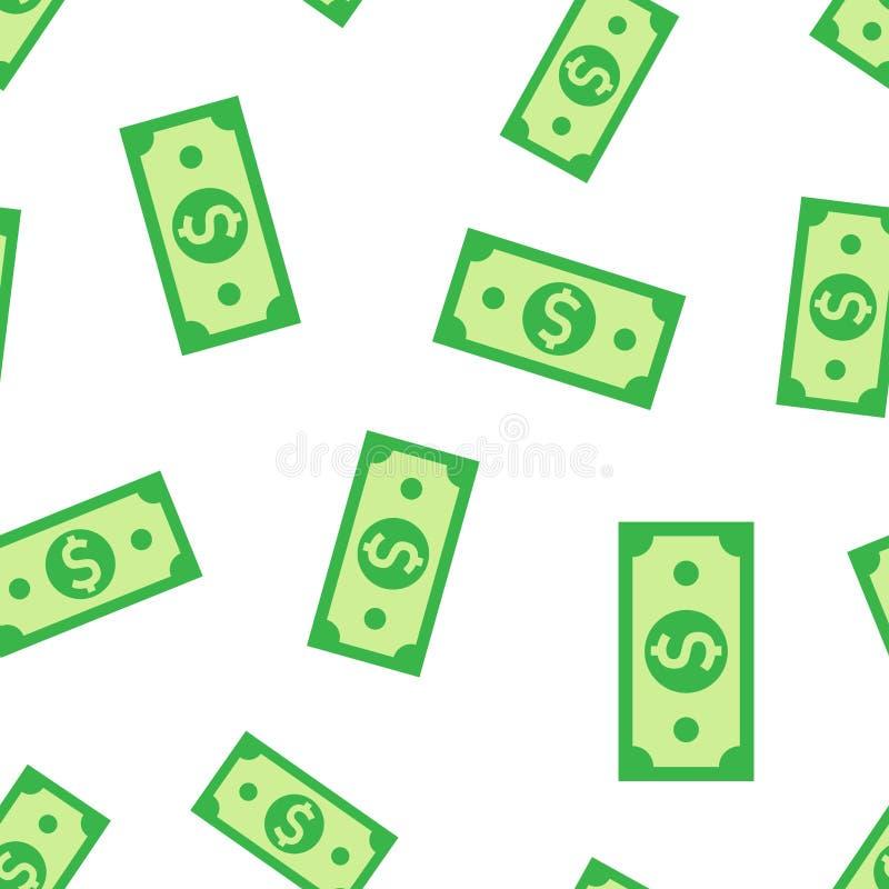 Fondo inconsútil del modelo del icono del billete de banco de la moneda del dólar Ejemplo del vector del efectivo del dólar Model stock de ilustración