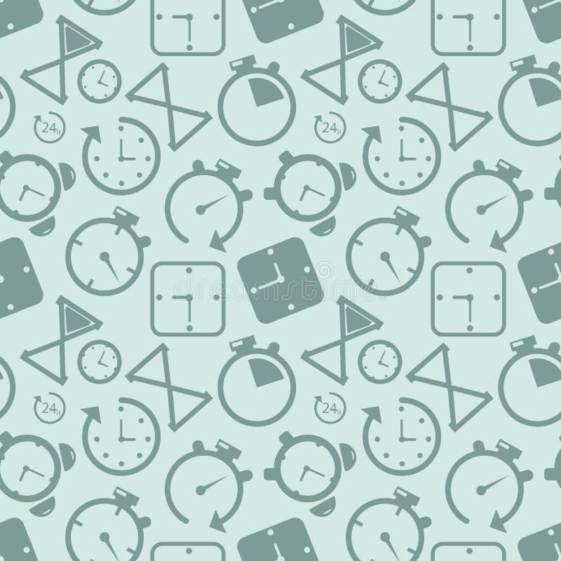 Fondo inconsútil del modelo del icono del contador de tiempo del reloj Ejemplo del vector del concepto del negocio Símbolo del re ilustración del vector
