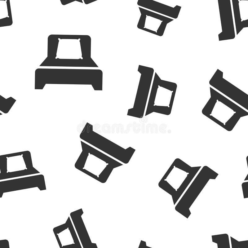 Fondo inconsútil del modelo del icono de la cama Ejemplo del vector del dormitorio del sueño Relaje el modelo del símbolo del sof libre illustration
