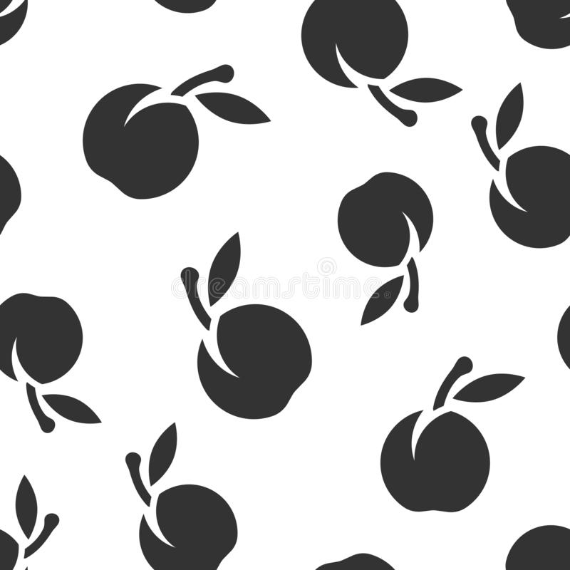 Fondo inconsútil del modelo del icono de la fruta del albaricoque Ejemplo del vector del postre del melocot?n en el fondo aislado stock de ilustración