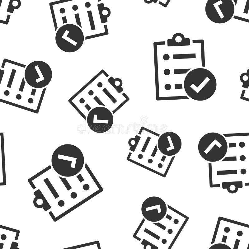 Fondo inconsútil del modelo del icono de la muestra del documento de la lista de control Ejemplo del vector de la encuesta en el  libre illustration