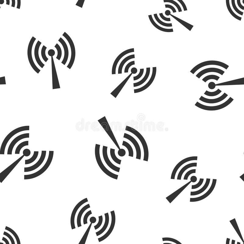 Fondo inconsútil del modelo del icono de la muestra de Internet de Wifi Ejemplo del vector de la tecnología inalámbrica de Wi-Fi  stock de ilustración
