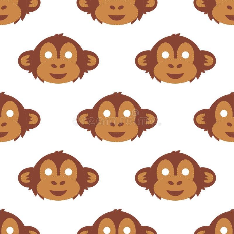 Fondo inconsútil del modelo del mono de la historieta del partido de las máscaras del vector del día de fiesta del ejemplo de la  libre illustration