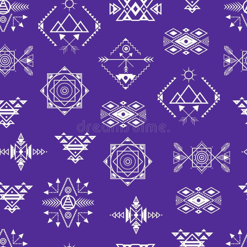 Fondo inconsútil del modelo del ornamento azteca del estilo Vector libre illustration