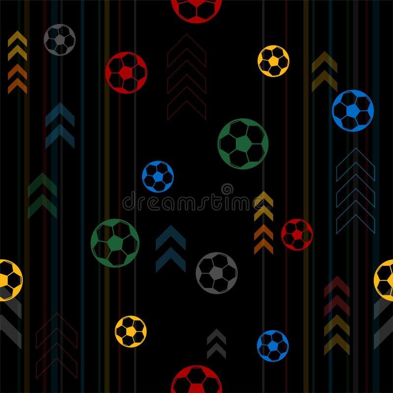 Fondo inconsútil del modelo para el tema del deporte del fútbol o del fútbol ilustración del vector
