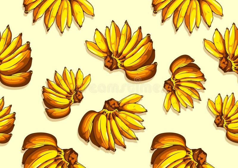 Fondo inconsútil del modelo del plátano stock de ilustración