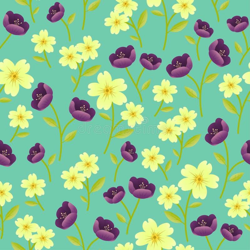 Fondo inconsútil del modelo del vector de la repetición al azar de los adornos de la flor de la primavera inglesa y del Hellebore ilustración del vector