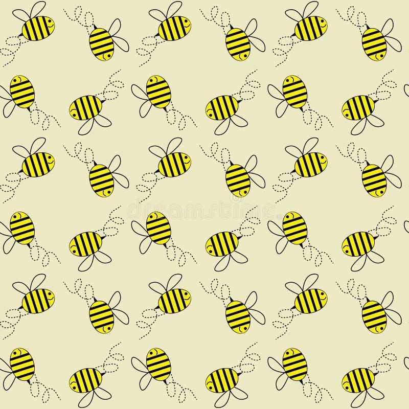 Fondo inconsútil del modelo del vector de las abejas de la miel que vuela stock de ilustración