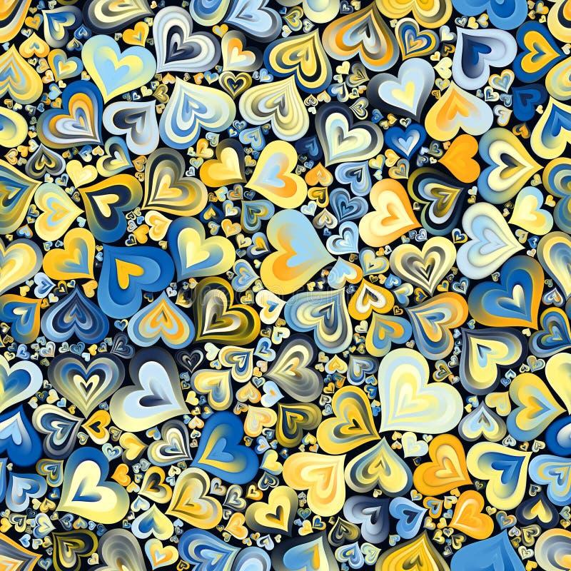 Fondo inconsútil del mosaico amarillo azul de los corazones imagenes de archivo