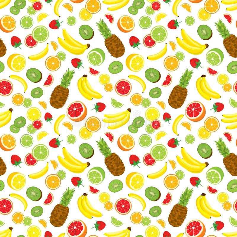 Fondo inconsútil del Multivitamin con la piña entera, las rebanadas verdes frescas del kiwi, las fresas, los agrios y los plátano ilustración del vector