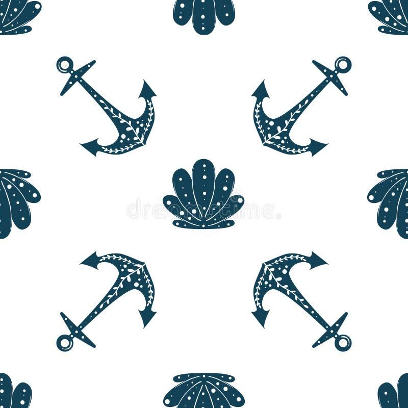 Fondo inconsútil del océano con el ancla y las cáscaras Diseño del vector del verano Para los terraplenes de modelo, papel pintad libre illustration