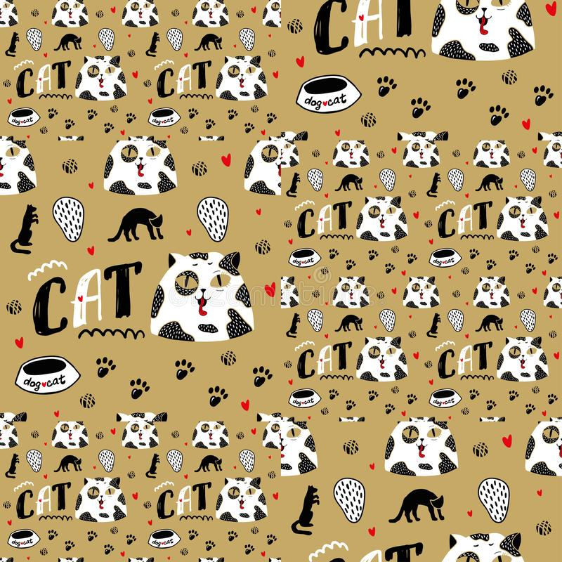 Fondo inconsútil del oro con el gato con los puntos negros y los ojos grandes stock de ilustración