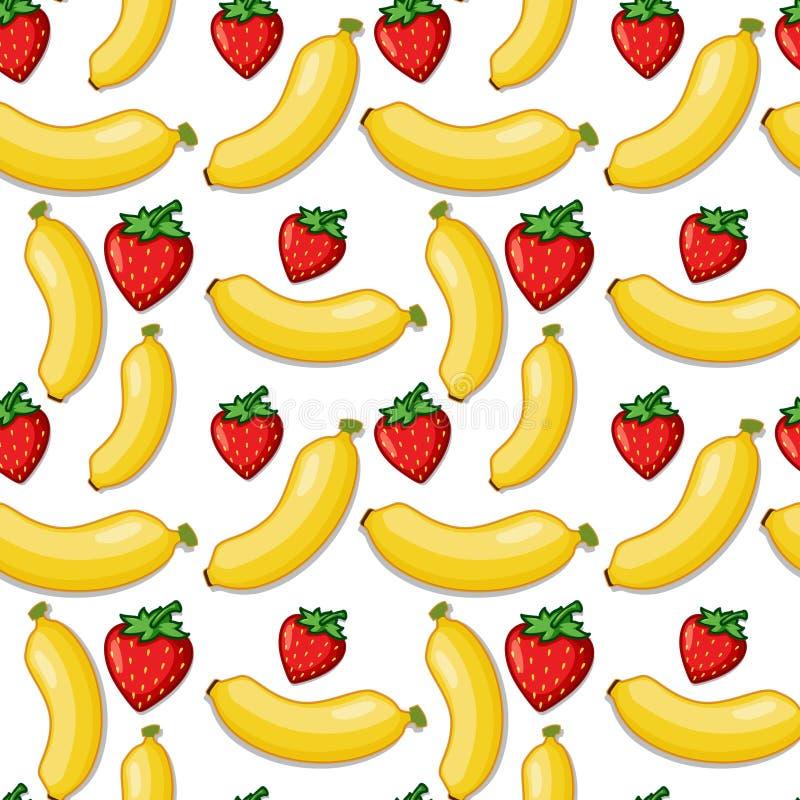 Fondo inconsútil del plátano y de la fresa stock de ilustración