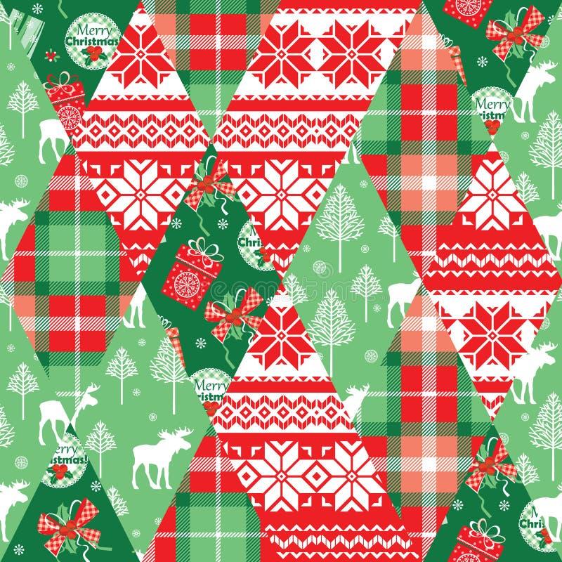 Fondo inconsútil del remiendo de la Navidad y del Año Nuevo ilustración del vector