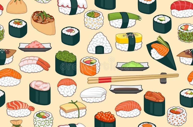 Fondo inconsútil del sushi stock de ilustración