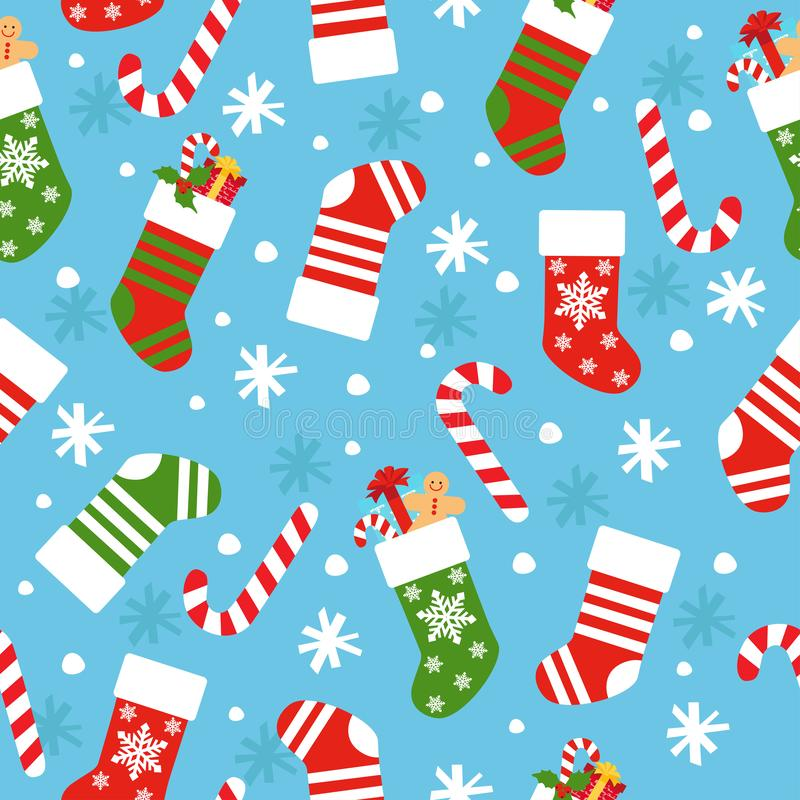 Fondo inconsútil del vector del Año Nuevo con los calcetines, el caramelo, los regalos y los copos de nieve de la Navidad stock de ilustración