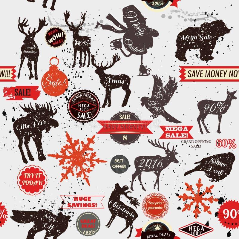 Fondo inconsútil del vector con la forma del etiqueta de las etiquetas engomadas y animal ilustración del vector
