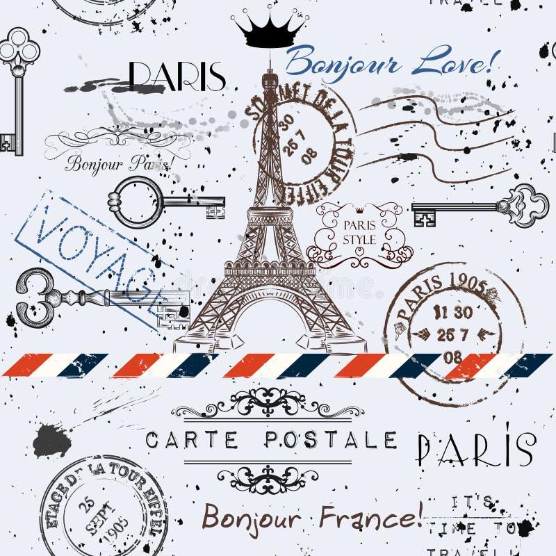 Fondo inconsútil del vector con la torre Eiffel de la flor ilustración del vector
