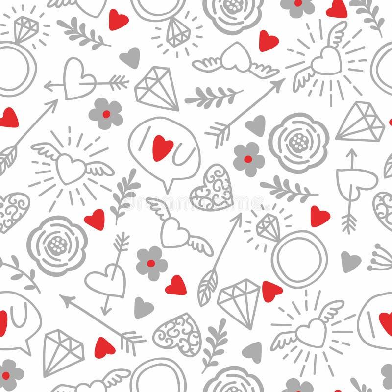 Fondo inconsútil del vector con los corazones, flechas, rizos, flores, amor ejemplo para la tela, el papel scrapbooking y otro ilustración del vector