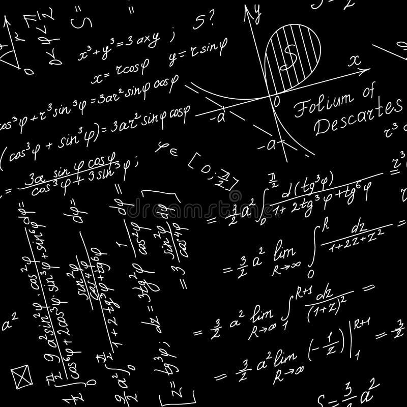 Fondo inconsútil del vector con symbo matemático stock de ilustración