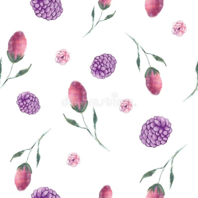 Fondo inconsútil del vector de Berry Buds Floral Repeat Pattern stock de ilustración