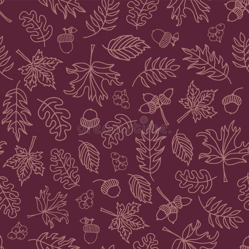 Fondo inconsútil del vector de las hojas de otoño Hojas purpúreas claras en un fondo púrpura Bellotas, roble, modelo del árbol de ilustración del vector